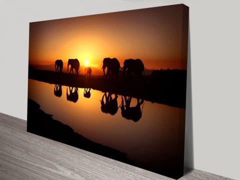 Sunset Elephants Photo Prints on Canvas