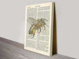 Bee dictionary page canvas artwork