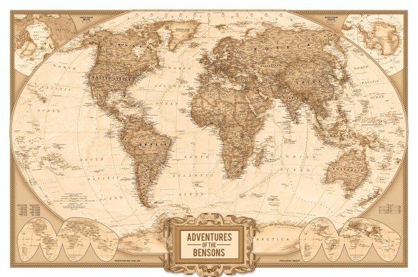 Personalised Adventure Push Pin World Map