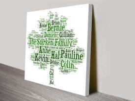 Bespoke Family Tree Canvas Word Art Australia