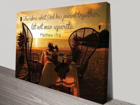 Matthew 19:6 Biblical Quote Inspirational and Motivational Office Wall Art