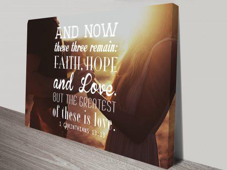 1 Corinithians 13:13 Bible Quote Inspirational Motivational Wall Art