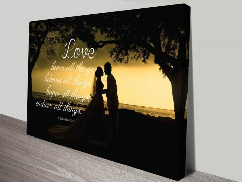 1 Corinthians 13:7-Love Bible Quote Inspirational Canvas Wall Art