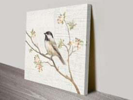 Black Capped Chickadee Vintage Danhui Nai Artwork Print