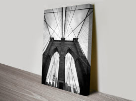 Suspension Bridge Black and White Canvas Print