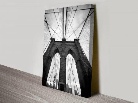 Suspension Bridge Black and White Canvas Print