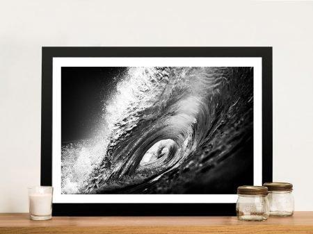 Black & White Surf Wave Art Picture Australia