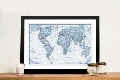 Blue Map Framed Wall Art
