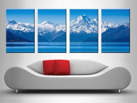 blue mountain 4 panel lake wall art print on canvas australia