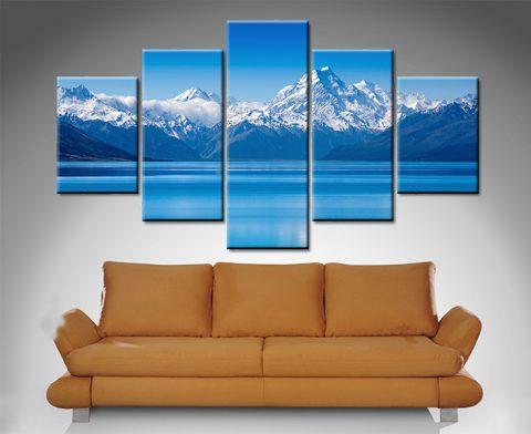 blue mountain 5 panel lake wall art print on canvas australia