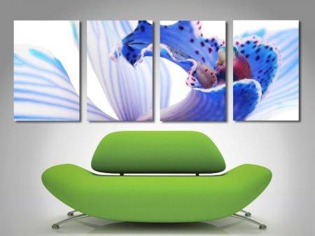 Blue Orchid Quad Panel Split Canvas