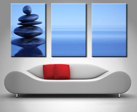 Blue Stones 3 Panel canvas print