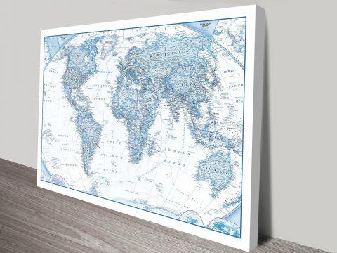 Buy Blue World Map Canvas Wall Art Print Cheap Map Artwork Australia