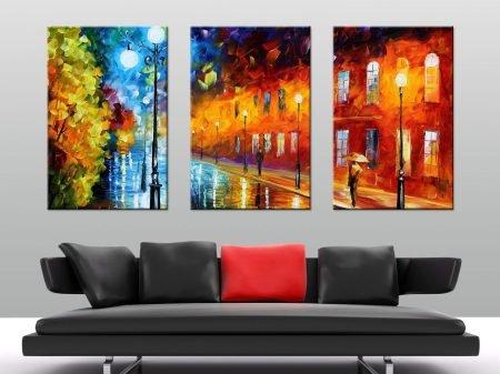 Blue lights leonid afremov triptych