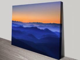Sunset Blue Hills Scenery Canvas Prints