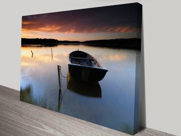 boat at Sunset wall print