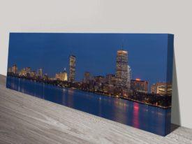 Boston Skyline Panorama Dusk Canvas