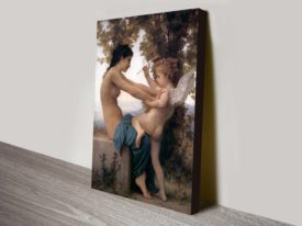 Bouguereau - A Young Girl Defending Herself Against Eros Classical Art Print