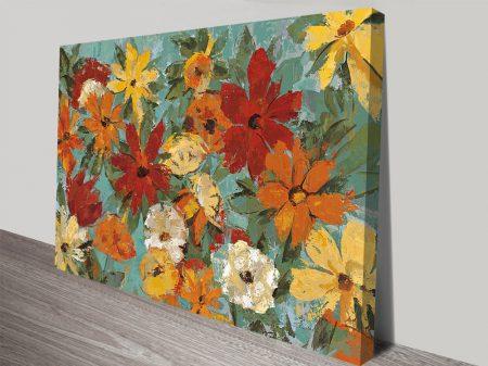 Bright Expressive Garden Wall Artwork on Canvas