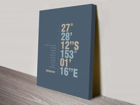 Brisbane Slate Blue Coordinates Longitude Latitude Framed Print