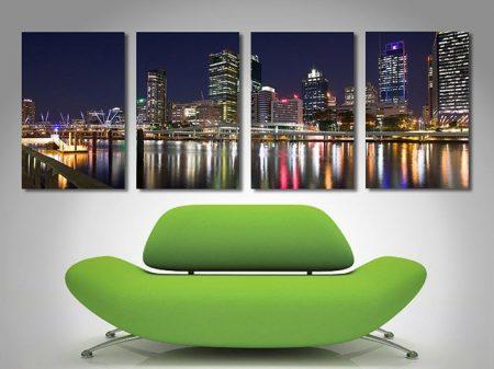 Brisbane City Night split canvas