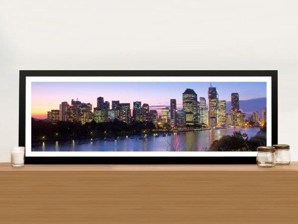 Brisbane Skyline panoramic Framed Art Picture