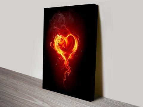 Burning Heart Canvas Wall Art