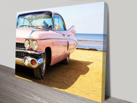 Cadillac on the Beach Canvas Wall Art Print