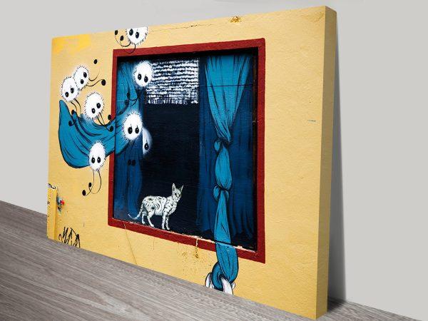 Cat in a Box Graffiti Canvas