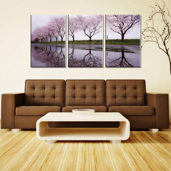 Cherry Blossom Lane Triptych Wall Art