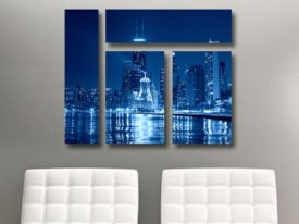 Chicago at Night Mixed 4 Panel Canvas Print
