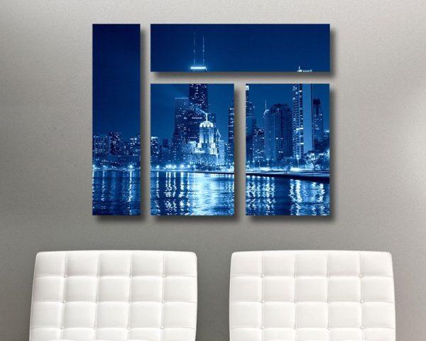 Chicago at Night Mixed 4 Panel Canvas Print