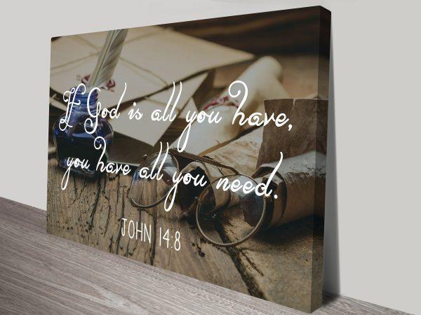 John 14:8 Christianity Quotation God Motivational Inspirational Canvas Art