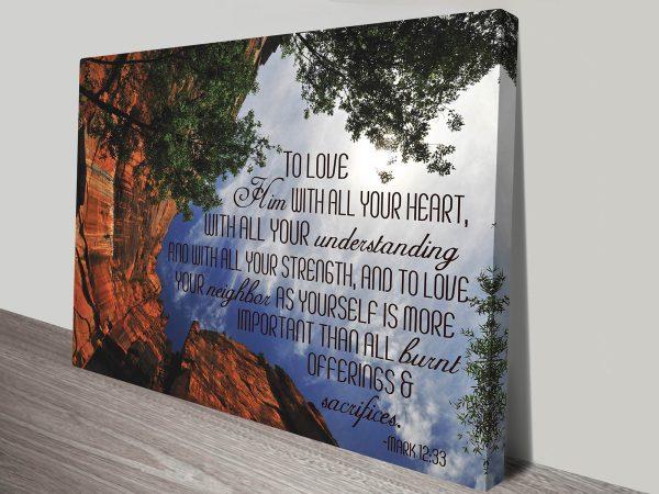 Mark 12:33 Biblical Quote Motivational Inspirational Mounted Framed Art