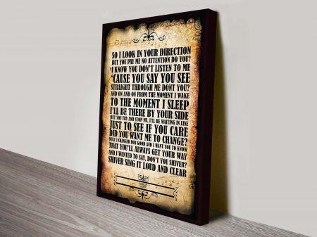 Coldplay Shiver song lyrics canvas poster