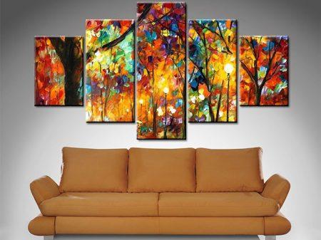 colorful night 5 panel wall art canvas print