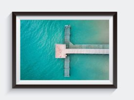 Coogee Jetty in Western Australia Aerial Framed Ocean Photo