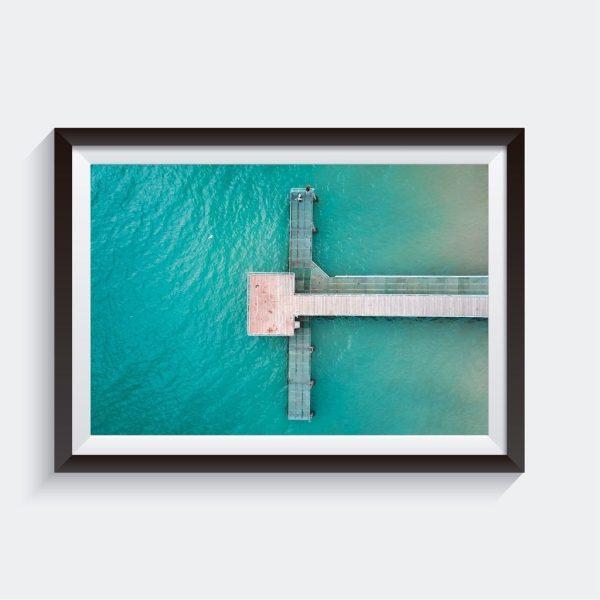 Coogee Jetty in Western Australia Aerial Framed Ocean Photo