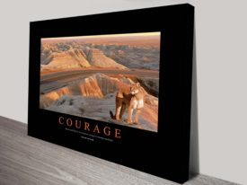 Courage Motivational Poster on Canvas