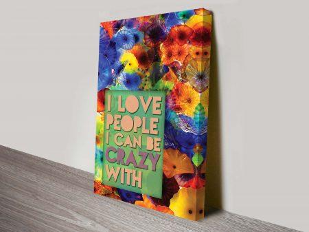 crazy love quote canvas print australia