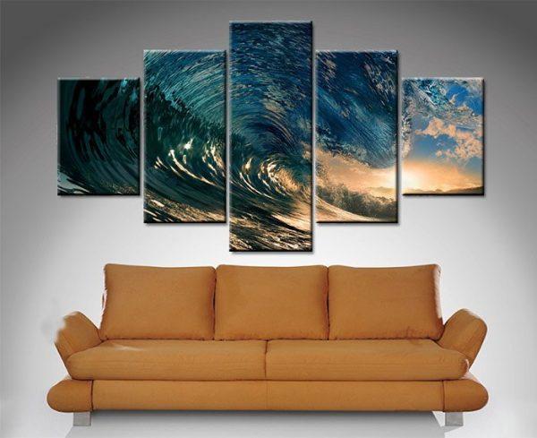 crystal waves 5 panel wall art print on canvas australia