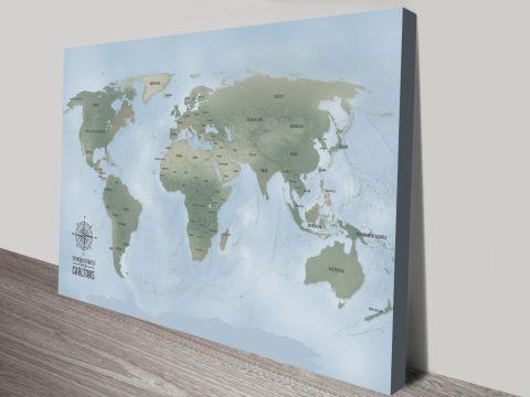 Cyan Custom Push Pin World Travel Map Canvas Picture