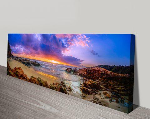 Sunset Bay Panoramic Wall Art Print On Canvas