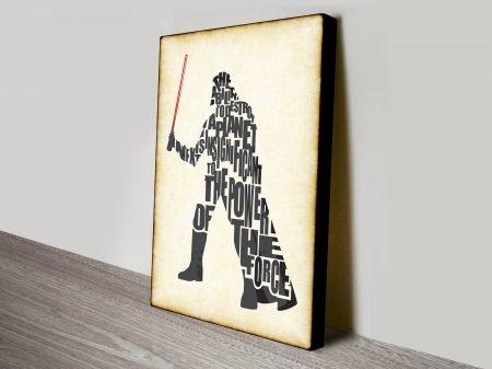 Darth Vader Typographic Star Wars Art Canvas