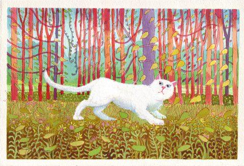 David Hockneys Cat Canvas Art Picture