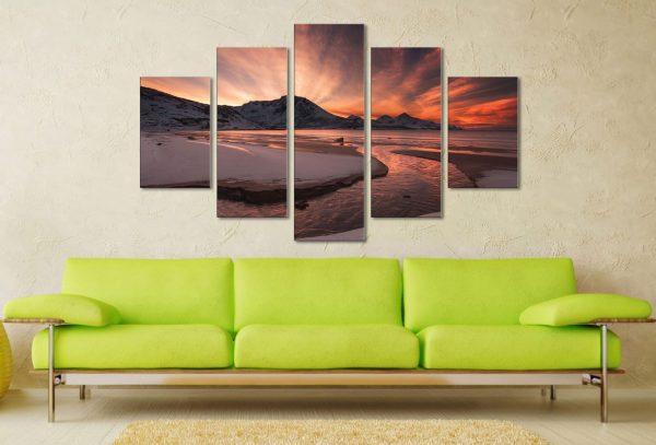 Dawn Estuary 5 Panel Split Art Set