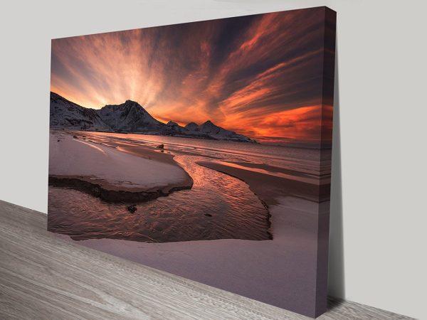 River Estuary at Sunset Print on Canvas