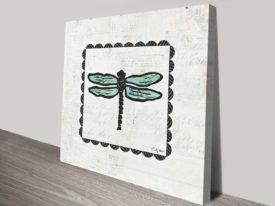 Dragonfly Stamp Art Print on Canvas