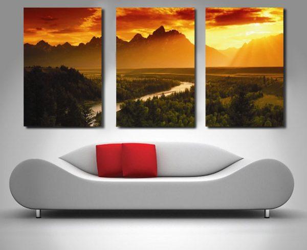 Dream Valley Triptych Canvas Wall Art