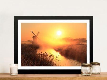 Windmill Sunset Norfolk England Canvas Picture Artwork